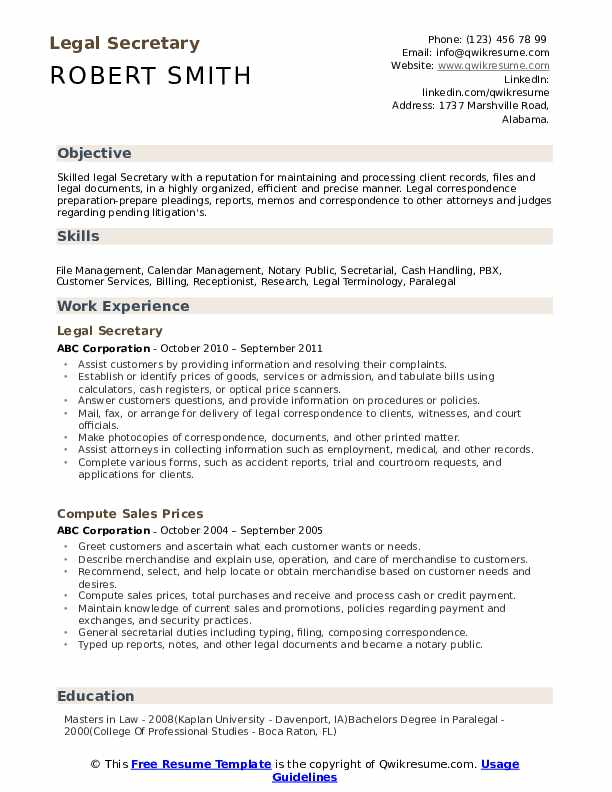 legal secretary resume samples qwikresume template free pdf azure engineer on tour guide Resume Secretary Resume Template Free