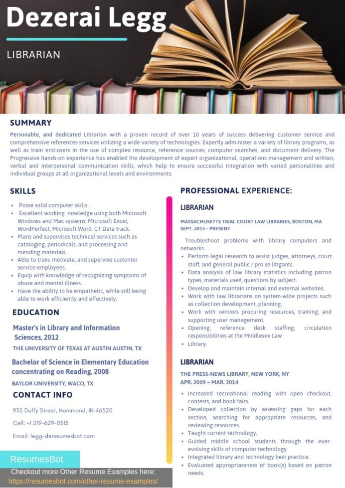 librarian resume samples templates pdf resumes bot examples sample marine mechanic Resume Librarian Resume Examples