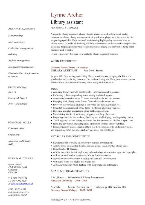 library assistant cv sample resume for librarian pic template package handler marketing Resume Resume Sample For Librarian