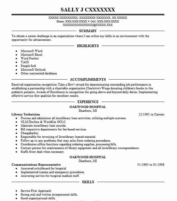library technician resume example resumes livecareer sample for librarian microsoft Resume Resume Sample For Librarian