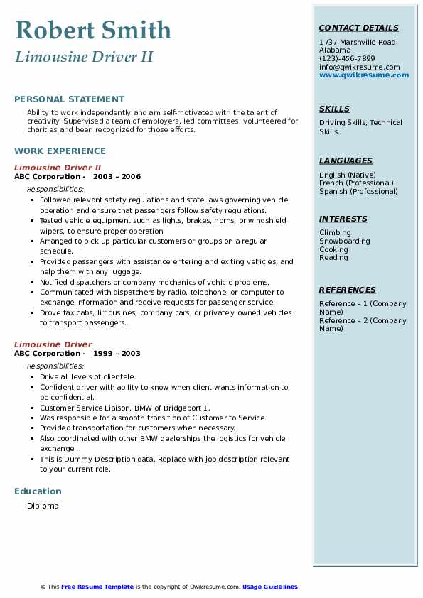 limousine driver resume samples qwikresume chauffeur pdf cosmetic account executive Resume Limousine Chauffeur Resume