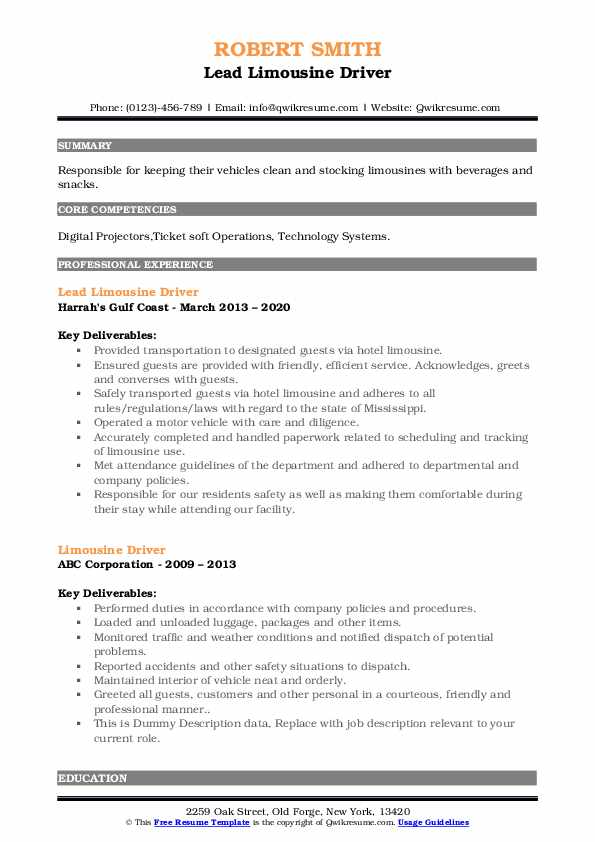 limousine driver resume samples qwikresume chauffeur pdf maintenance worker for Resume Limousine Chauffeur Resume