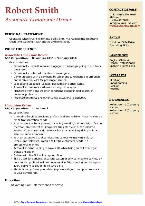 limousine driver resume samples qwikresume chauffeur pdf shipping clerk affordable Resume Limousine Chauffeur Resume