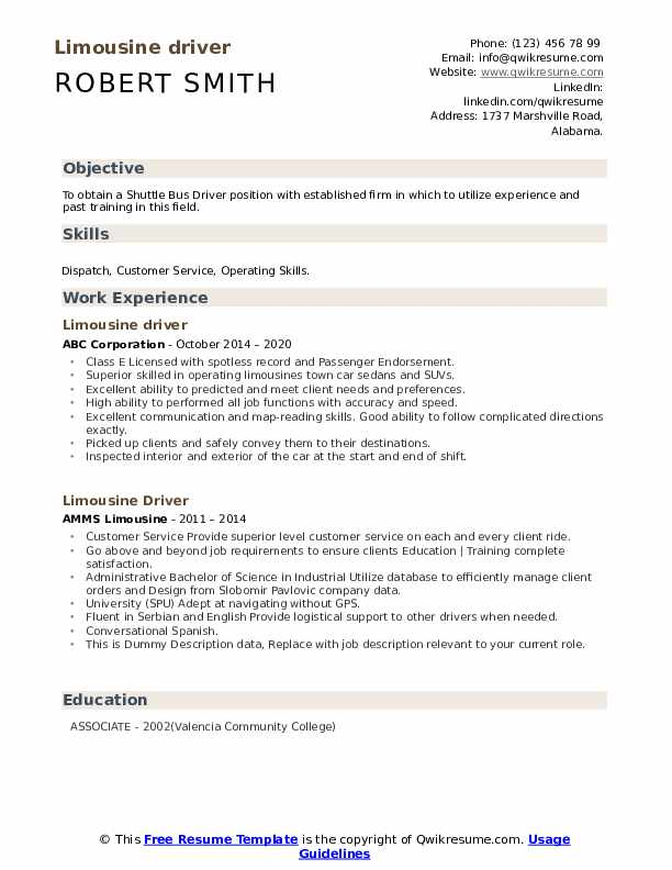 limousine driver resume samples qwikresume chauffeur pdf template for warehouse Resume Limousine Chauffeur Resume