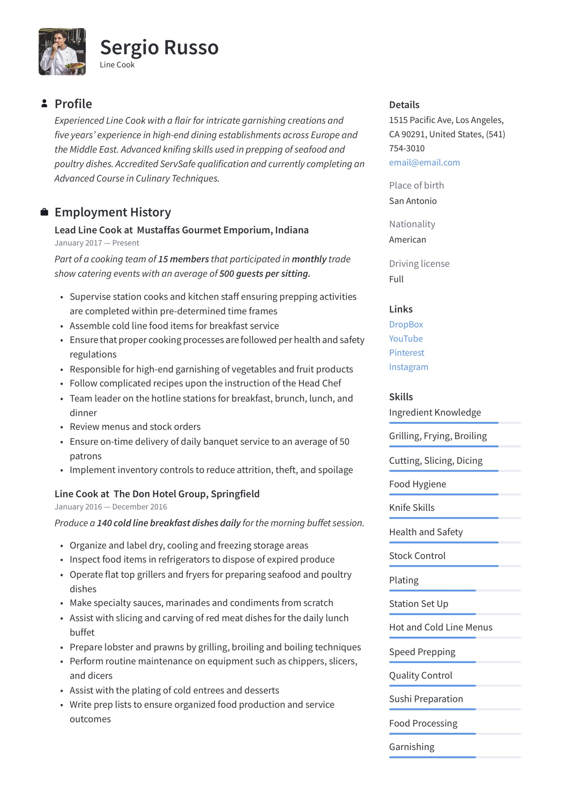 line resume writing guide examples free templates hindi teacher for school senior graphic Resume Free Line Cook Resume Templates