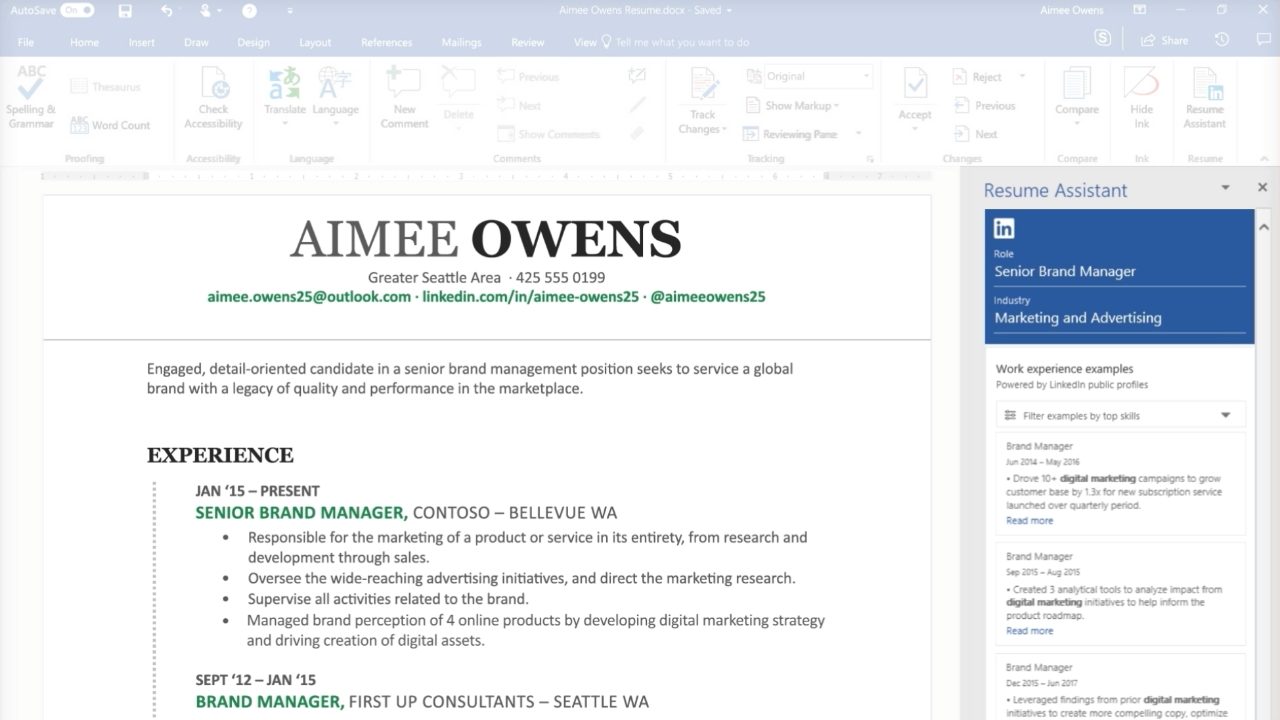 linkedin resume assistant feature now available to all office subscribers thurrott Resume Office 365 Resume Assistant