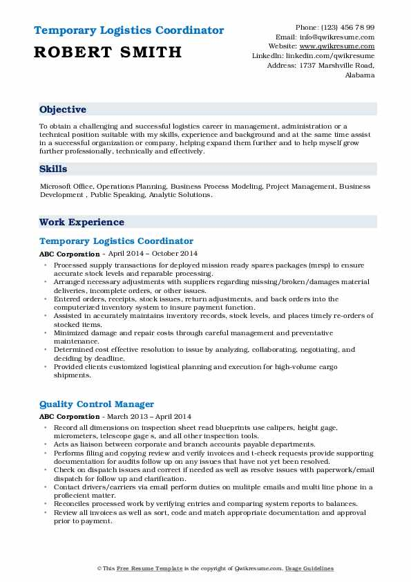 logistics coordinator resume samples qwikresume pdf example of good for first job college Resume Logistics Coordinator Resume