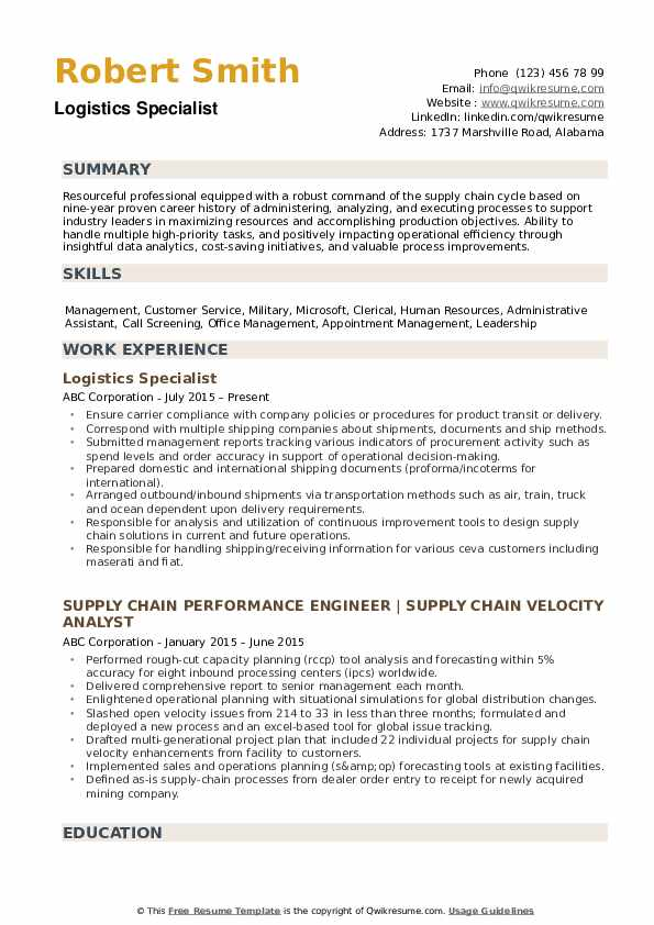 logistics specialist resume samples qwikresume examples pdf winning talent acquisition Resume Logistics Resume Examples