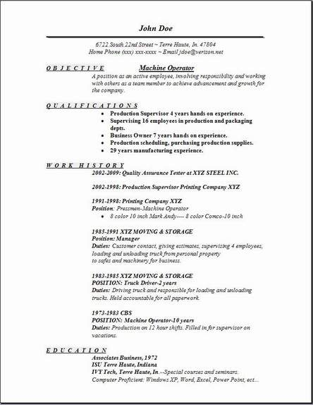 machine operator resume occupational examples samples free edit with word sample for Resume Sample Resume For Machinist Operator