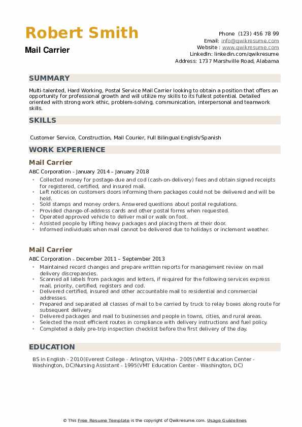 mail carrier resume samples qwikresume strong work ethic pdf professional service Resume Strong Work Ethic Resume