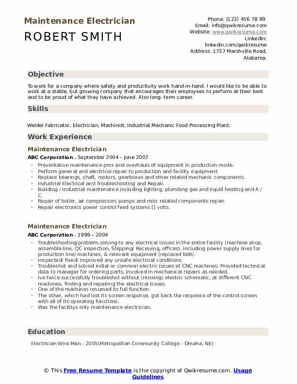 maintenance electrician resume samples qwikresume another word for handyman pdf Resume Another Word For Handyman For Resume