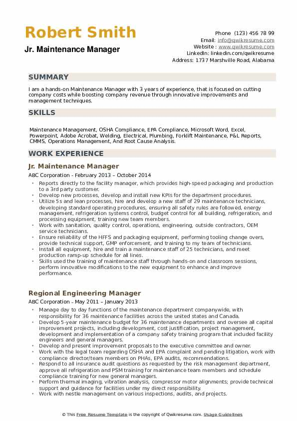 maintenance manager resume samples qwikresume description for pdf augmented reality bank Resume Maintenance Description For Resume