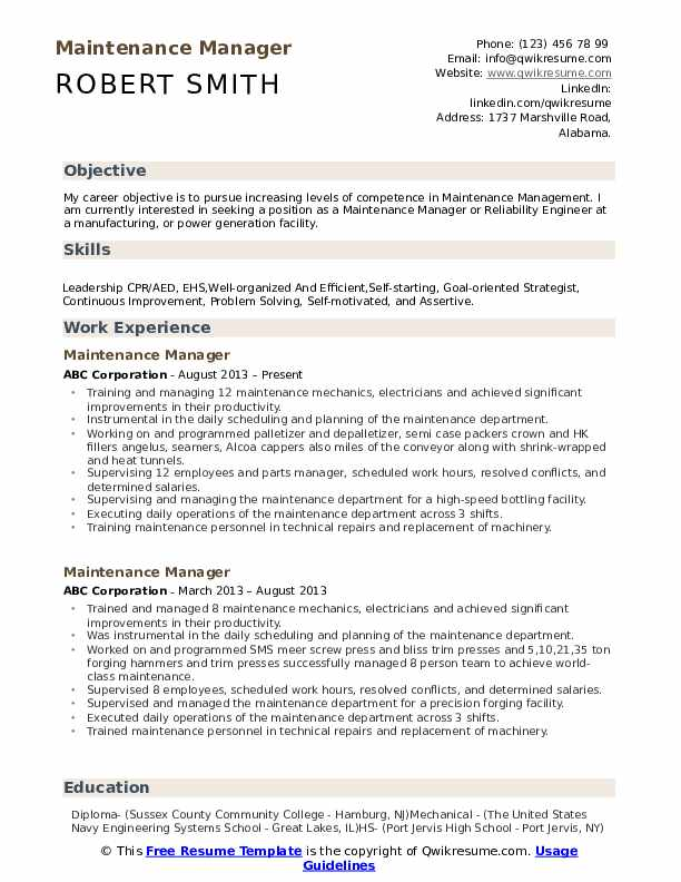 maintenance manager resume samples qwikresume pdf process quality engineer for cleaning Resume Maintenance Manager Resume