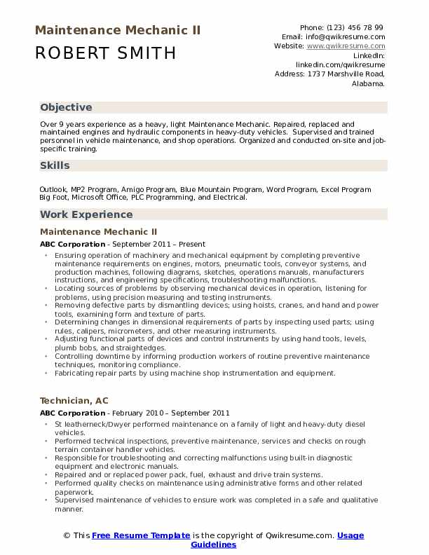 maintenance mechanic resume samples qwikresume examples for technician pdf dental lab Resume Resume Examples For Maintenance Technician
