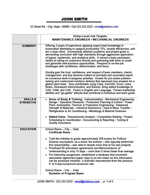 maintenance or mechanical engineer resume template premium samples example metallurgical Resume Metallurgical Engineer Resume