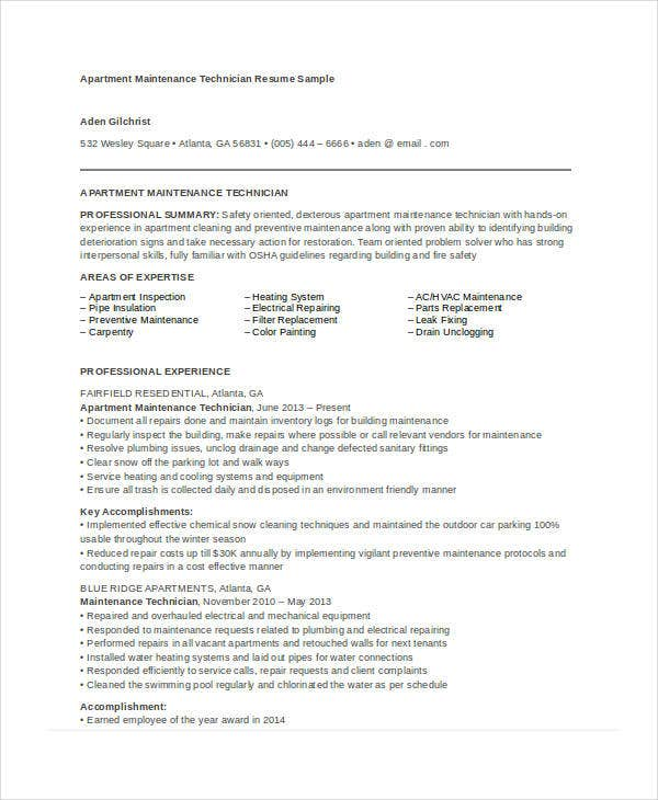 maintenance resume free word pdf documents premium templates apartment technician summary Resume Apartment Maintenance Technician Resume Summary