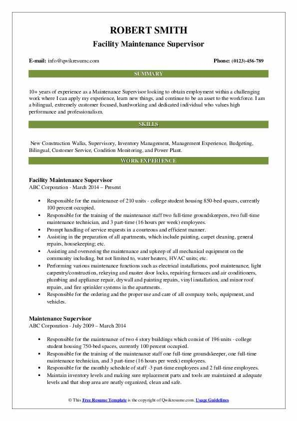 maintenance supervisor resume louiesportsmouth teacher examples business analyst manager Resume Maintenance Manager Resume
