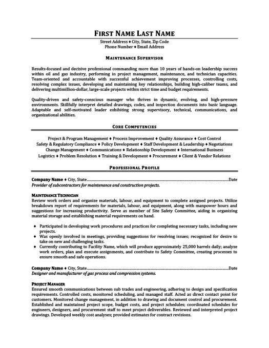 maintenance supervisor resume template premium samples example manager process quality Resume Maintenance Manager Resume