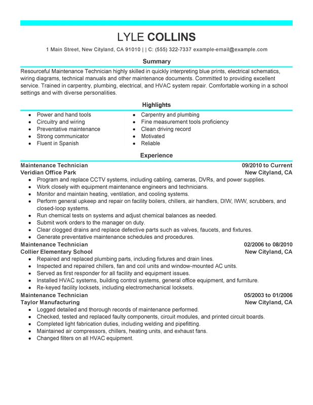 maintenance technician resume examples created by pros myperfectresume summary for and Resume Technician Summary For Resume