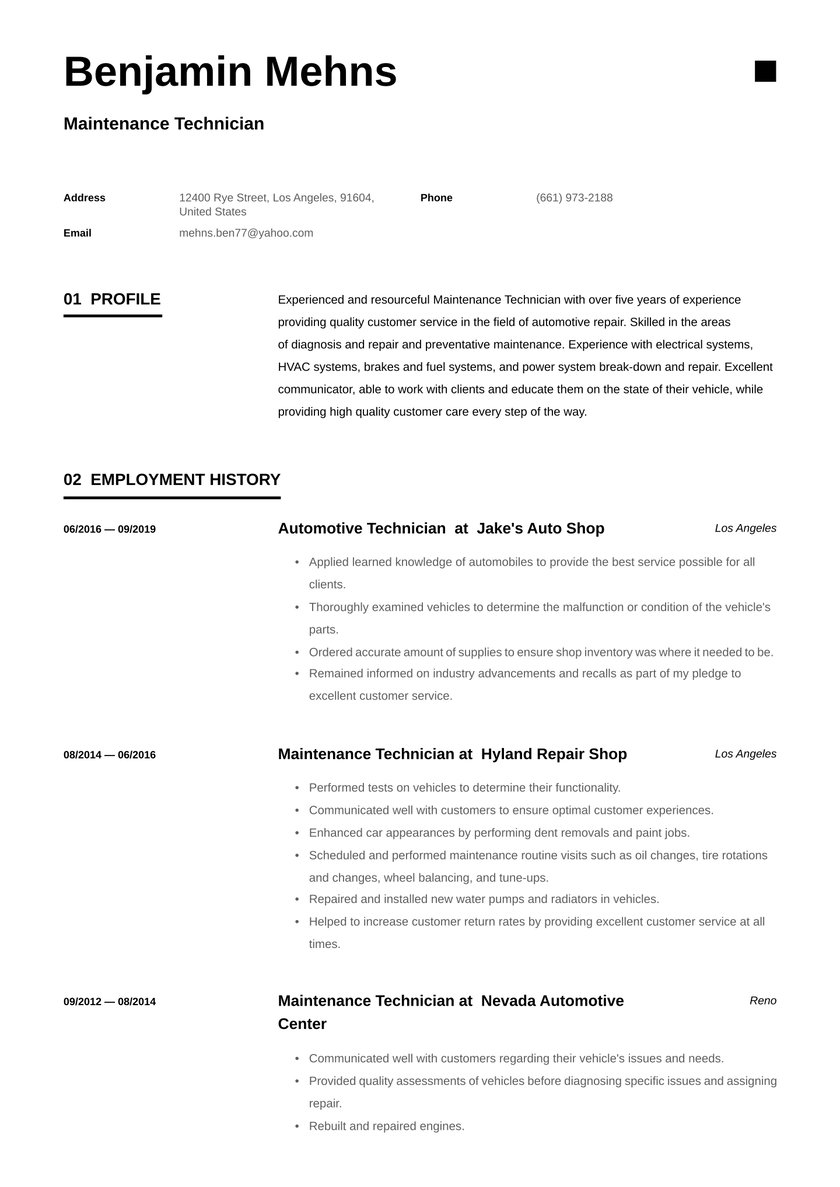 maintenance technician resume examples writing tips free guide io mechanical supervisor Resume Mechanical Maintenance Supervisor Resume Sample