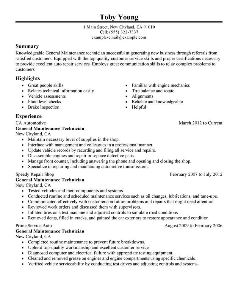 maintenance technician resume template for microsoft word livecareer general service Resume General Service Technician Resume