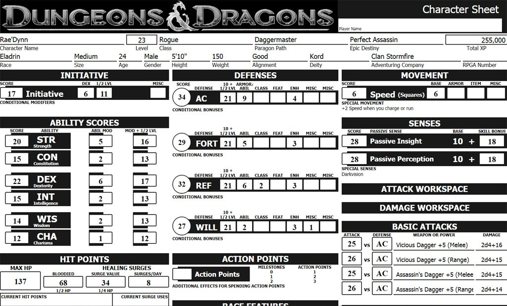 making great role play character for dungeons and dragons sheet resume two column format Resume D&d Character Sheet Resume