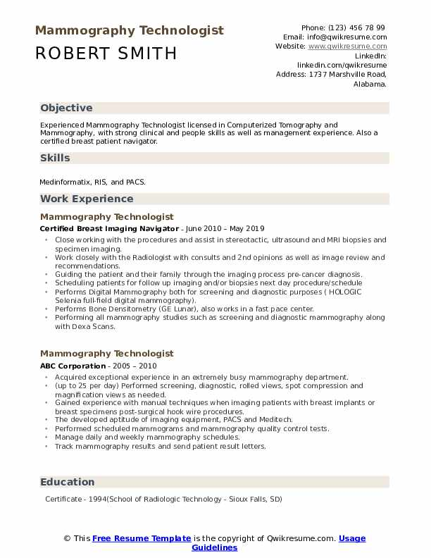 mammography technologist resume samples qwikresume examples pdf personal care aide Resume Mammography Resume Examples