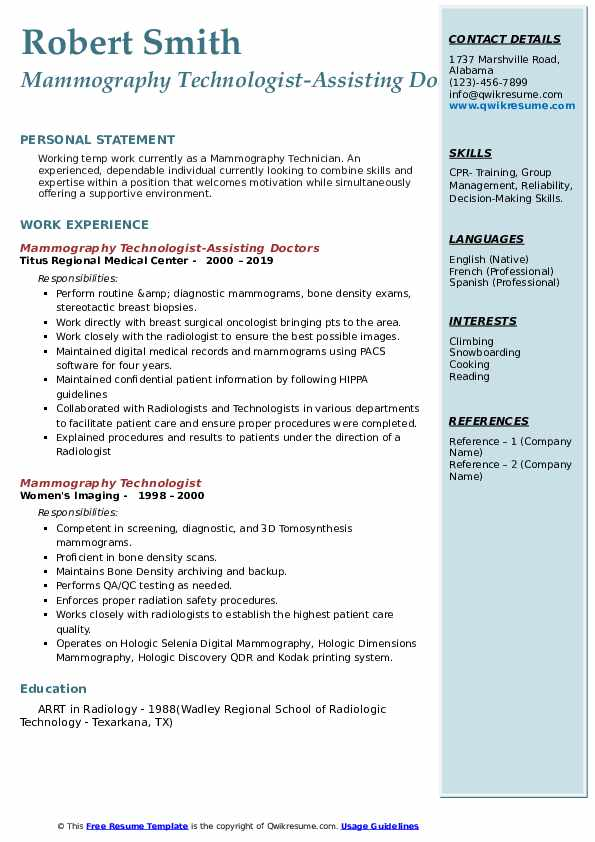 mammography technologist resume samples qwikresume pdf business intelligence manager Resume Mammography Resume Samples