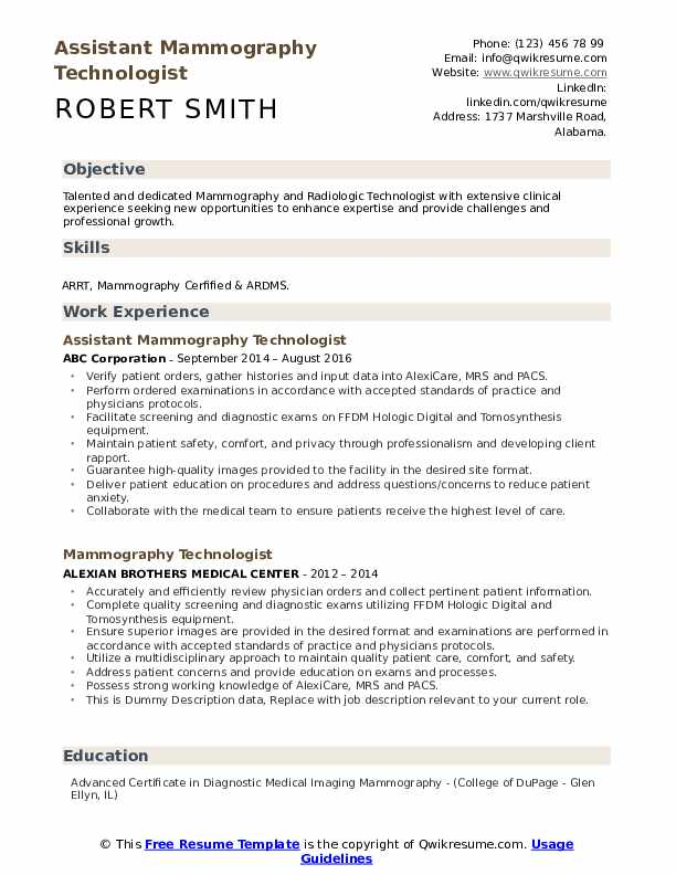 mammography technologist resume samples qwikresume pdf skill category examples work Resume Mammography Resume Samples