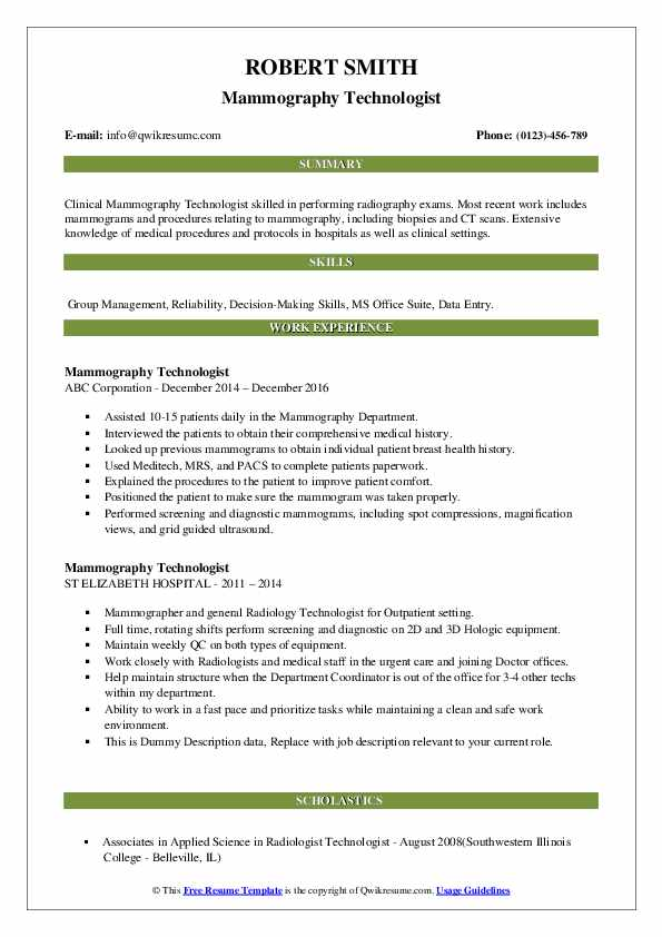 mammography technologist resume samples qwikresume pdf sophomore college student pta job Resume Mammography Resume Samples
