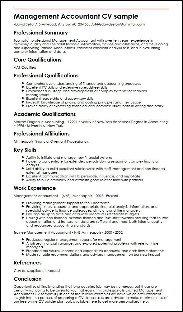 management accountant cv sample myperfectcv resume accounting skills summary executive Resume Accounting Resume Skills Summary