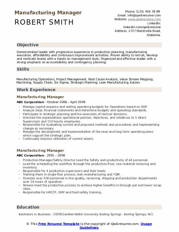 manufacturing manager resume samples qwikresume objective pdf journalist sailing example Resume Manufacturing Resume Objective