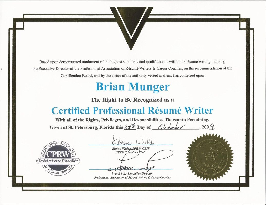 many writers claim to have this certification are not even listed on parw website no Resume Certified Professional Resume Writers