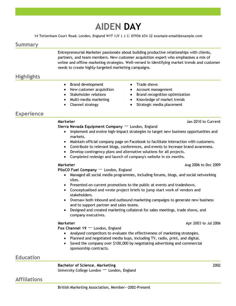 marketing advertising and pr resume template for microsoft word livecareer emphasis Resume Marketing Resume Template