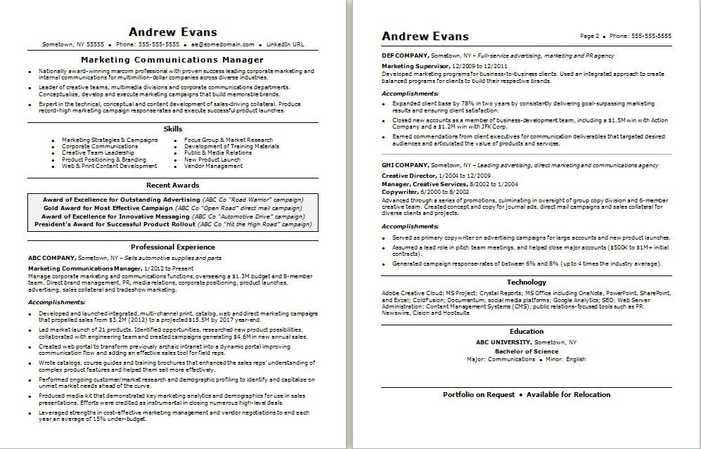 marketing communications resume monster examples for management positions marcom manager Resume Resume Examples For Management Positions