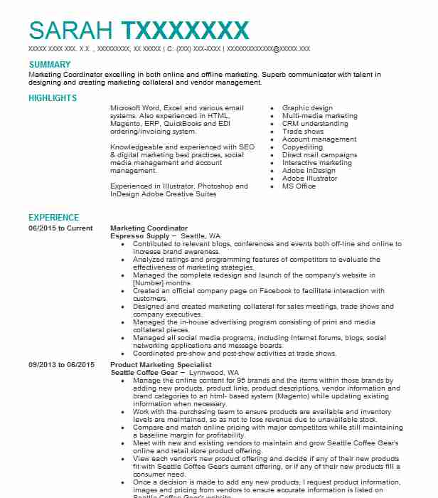 marketing coordinator resume example resumes misc livecareer basic template word entry Resume Marketing Coordinator Resume