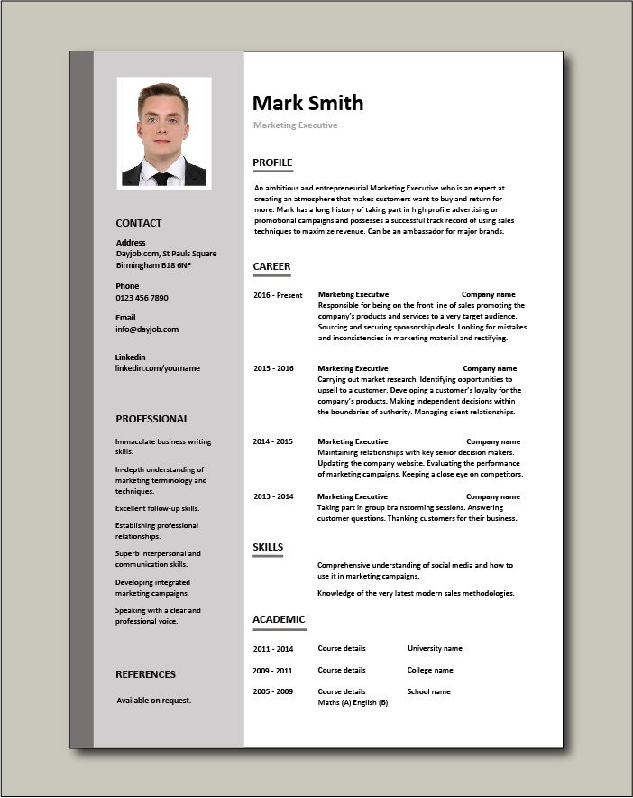 marketing executive resume example sample template promotions writing cv jobs best for Resume Best Resume For Marketing Job