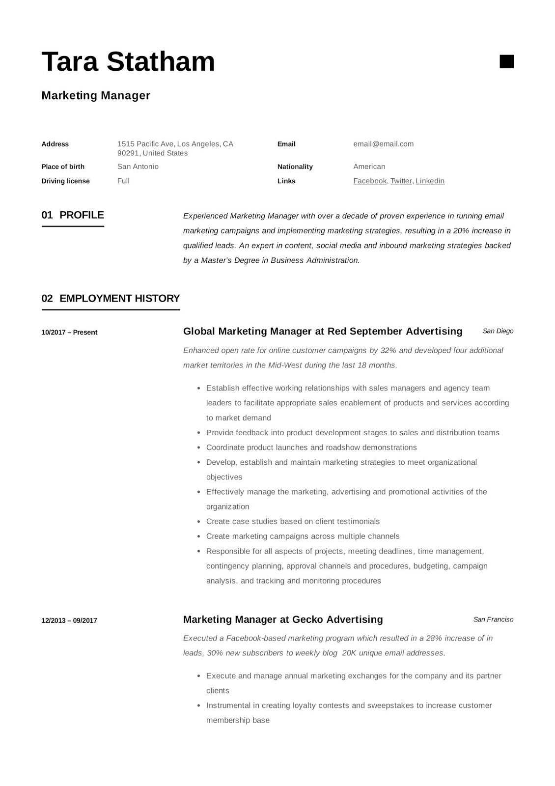 marketing manager cv example examples marke home health aide graphic design resume trade Resume Trade Marketing Executive Resume