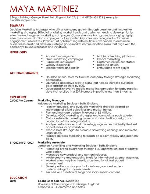 marketing manager cv template samples examples resume full cpa exam candidate lead Resume Marketing Resume Template