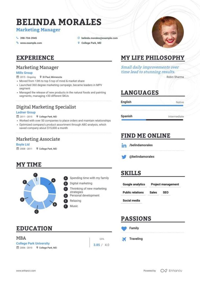 marketing manager resume samples step by guide for enhancv examples job dates on good Resume Marketing Manager Resume Examples