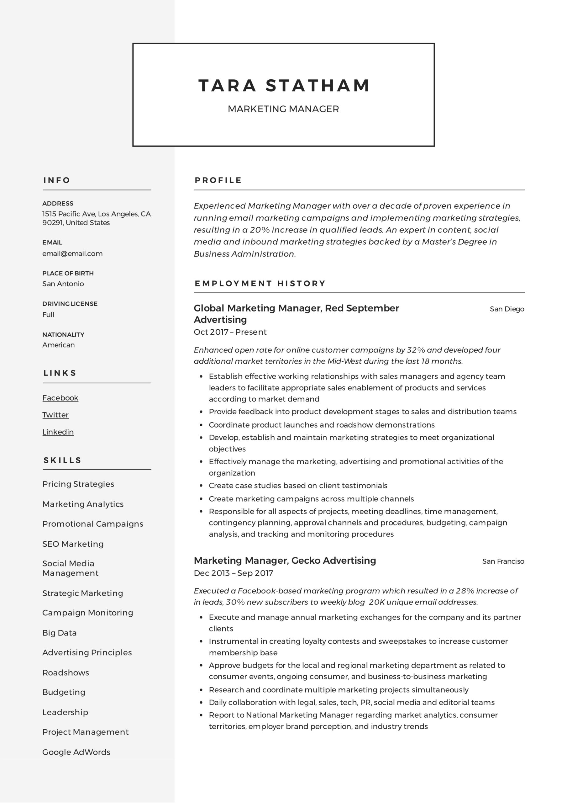 marketing manager resume writing guide templates campaign tara statham assistant project Resume Campaign Manager Resume