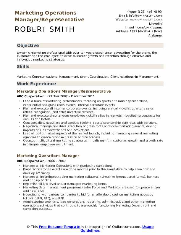 marketing operations manager resume samples qwikresume pdf objective for examples office Resume Operations Manager Resume