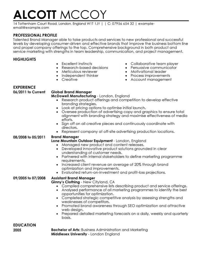 marketing resume examples example resumes livecareer template brand manager contemporary Resume Marketing Resume Template