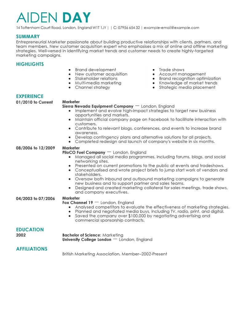 marketing resume examples example resumes livecareer template contemporary experience Resume Marketing Resume Template