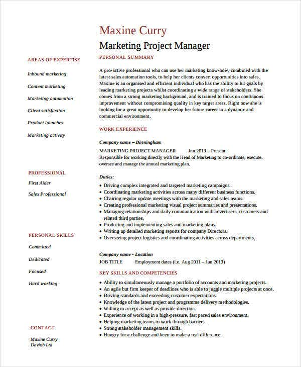 marketing resume examples free word pdf documents premium templates manager project Resume Marketing Manager Resume Examples