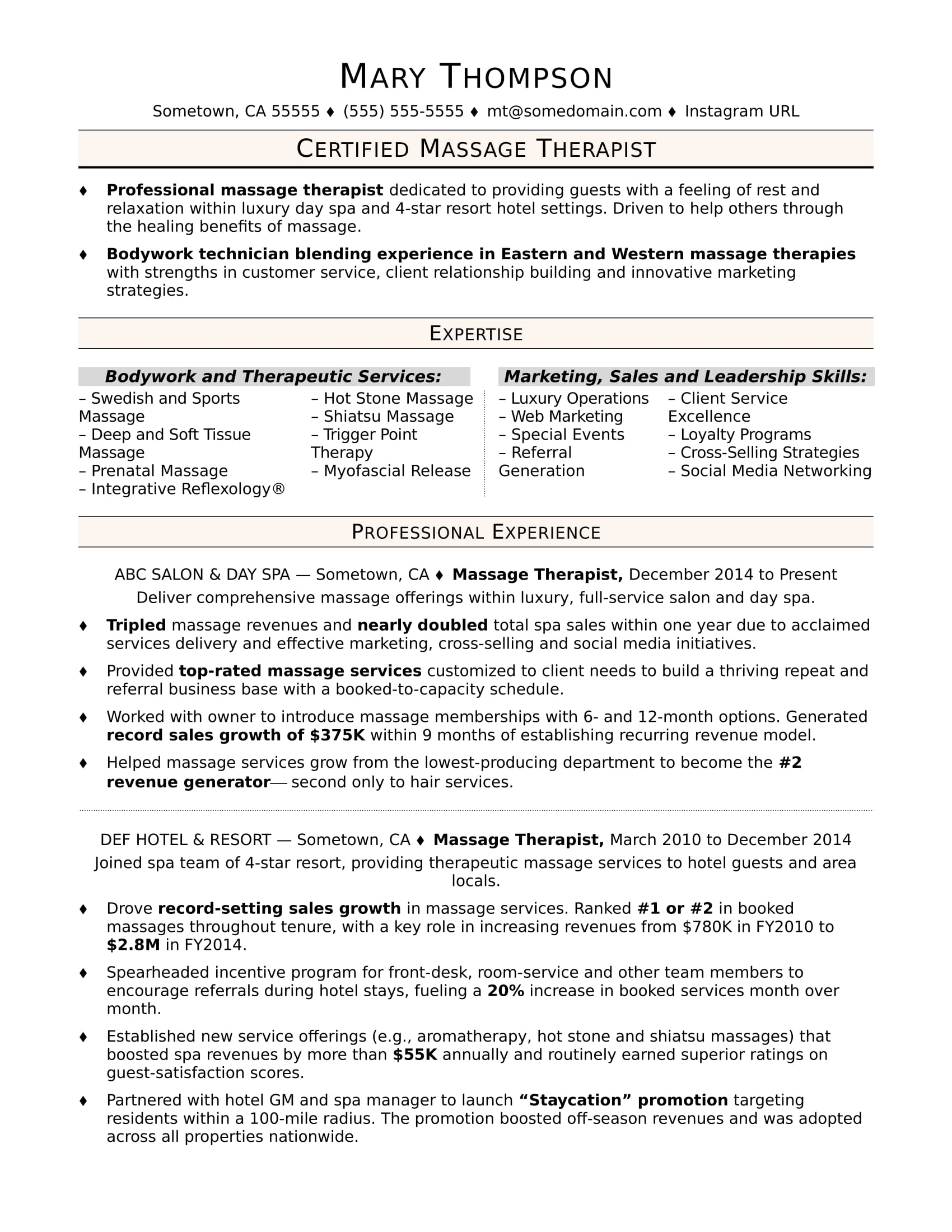 massage therapist resume sample monster examples executive summary of example fabrication Resume Therapist Resume Examples