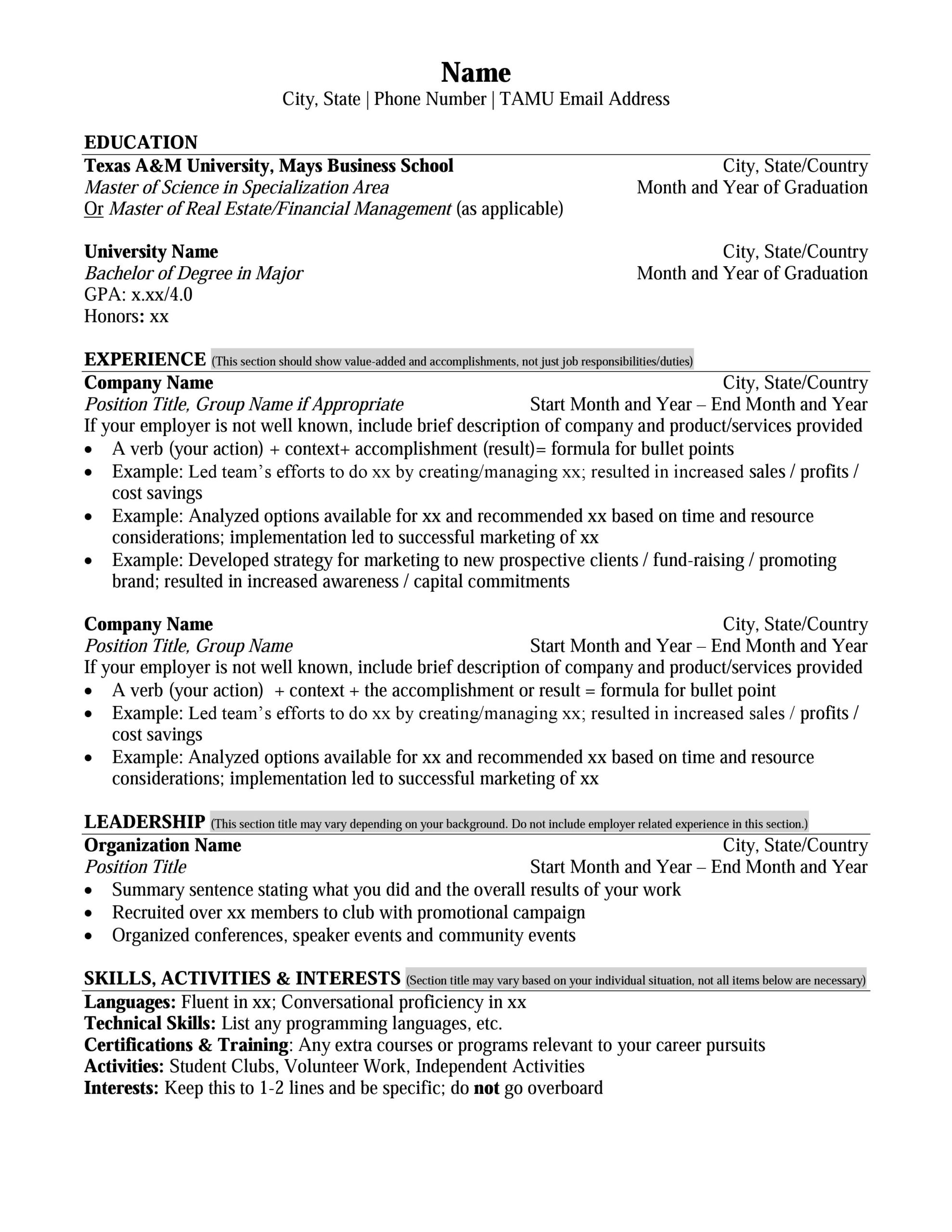mays masters resume format career management center business school for degree sample ms Resume Resume For Masters Degree Sample