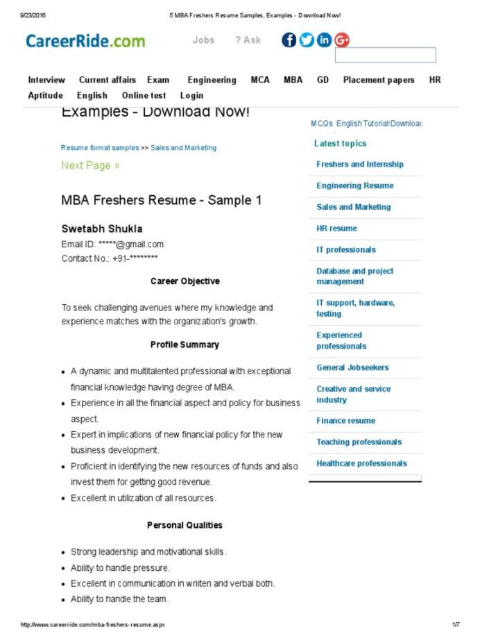 mba freshers resume samples examples now master of business administration résumé Resume Mba Fresher Resume Template Download