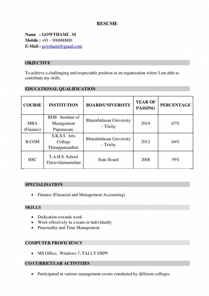 mba freshers resume samples examples now projects fresher template gowthami special Resume Mba Fresher Resume Template Download
