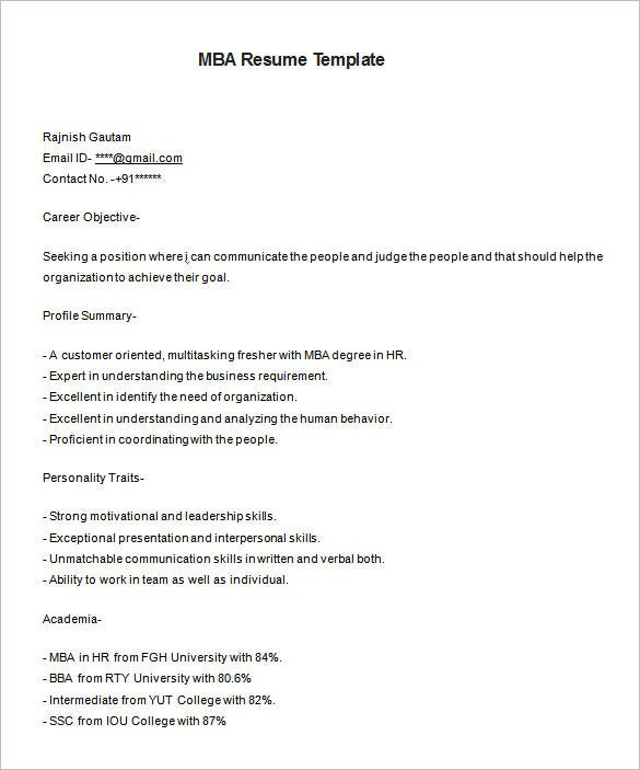 mba resume templates pdf free premium fresher template for hr makeup artist sample Resume Mba Fresher Resume Template Download
